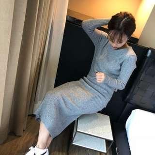 🚚 轉售little dream小夢想 軟綿綿毛料彈性羅紋針織長版合身洋裝