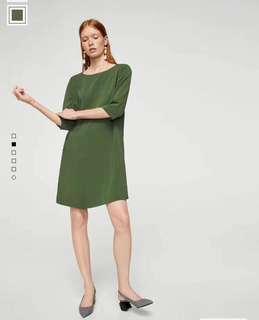 🚚 OshareGirl 04 歐美女士簡約圓領七分袖直筒式連身裙