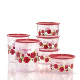 FREE SHIPPING Tupperware Royal Red Rose One Touch Set 950ml (2) + 2L (1)