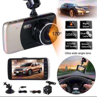 Car Camera (Ready Stock) - Front & Rear Dual Lens, Night Vision, Loop Recording, 4 Inch LCD