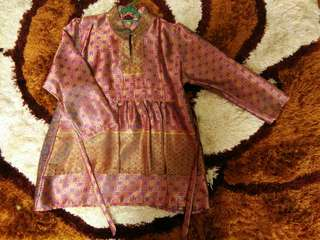 Songket Peplum Top in Purple and Gold