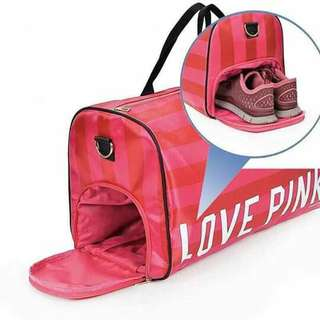 LOVE pink travelling bag with shoe pocket