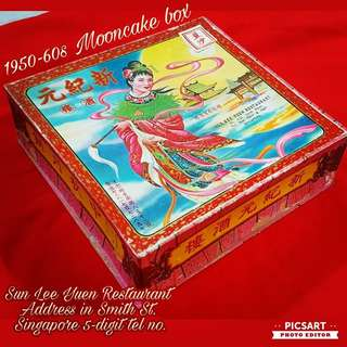 Rare 1950s Moon Cake Box (SUN LEE YUEN Chinese Restaurant, address in Smith St and has just 5-digit Singapore Tel nos). Good Condition and still has the brown wax paper inside with red wordinds. Cardboard material. Good Condition. $38,  Sms 96337309.