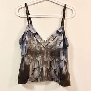 Prada Feather Print Silk Vest