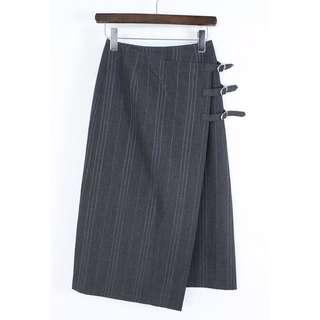 VINTAGE 1989 tricot COMME des GARÇONS Grey Triple Belt Skirt 古著