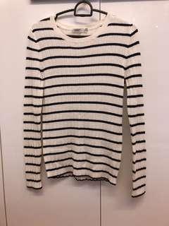 Yishion stripe long sleeve top