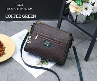Coach Sling Bag Green Coffee Color