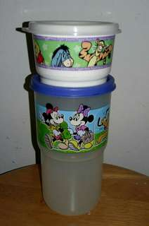 Extra photos in comment 1990s Preloved Vintage Tupperware Brand Mickey Mouse Tumbler 12oz Pooh Snack Cup