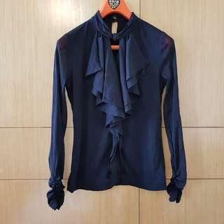 🚚 黑色領口挖空裝飾雪紡上衣#女裝半價