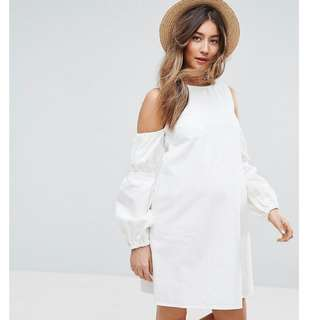 Designer Brand Shift Dress in White With Puff Sleeve and Cut-out Shoulder