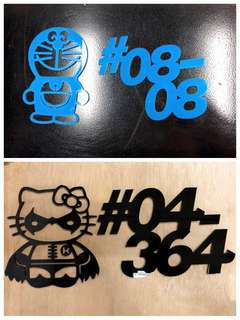 Acrylic Cartoon with Unit Number