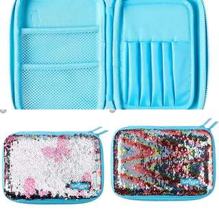 Smiggle sparkle hardtop pencil case (blue)