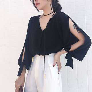 Slit Sleeves Top