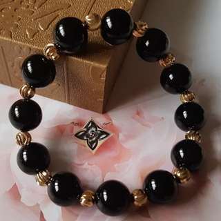 Natural Black Agate Pumpkin Gold Beads - Code 06