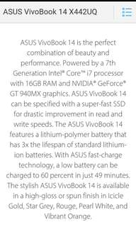 ASUS VivoBook X442U 4 months used