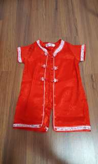 Red cheong sam romper
