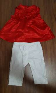 Red cheongsam top and pants set