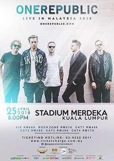 One Republic Live in Malaysia-25 April 2018 (VIP Seats)