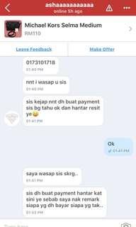 PENIPU / SCAMMER Nur ain Natasha Maul