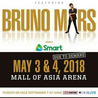 Bruno Mars Live in Manila VIP2 Concert Tickets