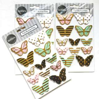 FREE NORMAL MAIL Gold Foil Butterflies by Rosie's Studio