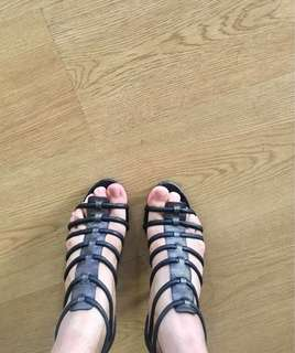 Black open toe caged gladiator heeled sandals