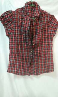🚚 Shirt red  近全新 紅色 公主袖 英倫風 襯衫 短袖