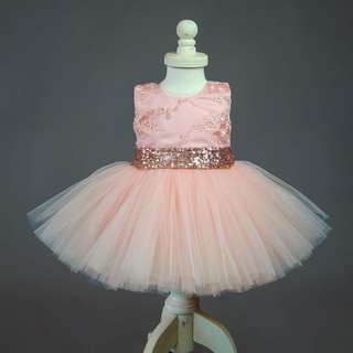 Instock - pink sequin party dress, baby infant toddler girl children cute chubby 123456789 lalalala