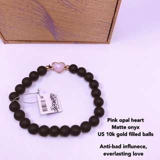 Pink Opal Matte Onyx Bracelet