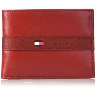 美國進口現貨! Tommy Hilfiger 男士遊俠皮夾錢包 連可拆卸卡片套 情人節生日銀包禮物 Wallet Gift (紅色)
