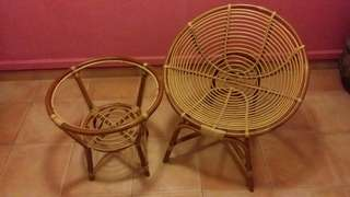 Rattan Table & Chair