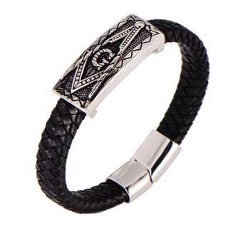 Freemasonry Leather Bracelet