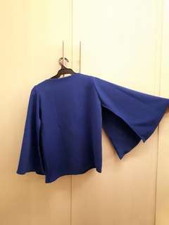 Blue neoprene cape top