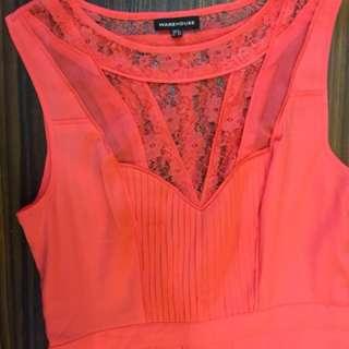 Warehouse Long Orange Summer Dress Cocktail Gown
