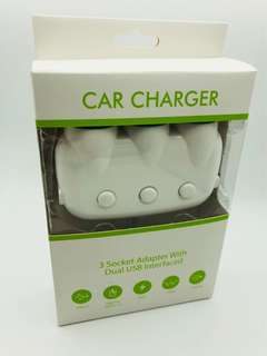 Car charger 3 Socket Adaptor with Dual USB Port