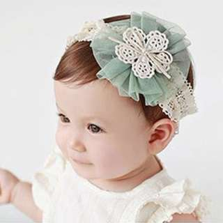 Green flower Mesh Headband