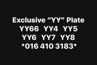 "Exclusive ""Y"" & ""YY"" Plate for sell"