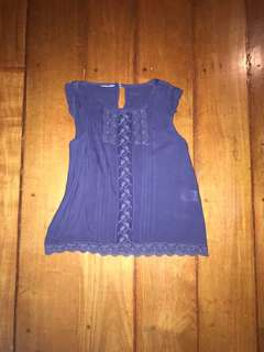 Cotton On 3T Navy Blue Flutter Blouse with Lace detail