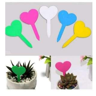 Heartshape plant label in 5 colours