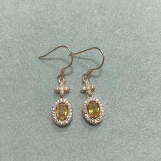 純銀鍍玫瑰金天然藍寶石耳環