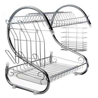 Stainless Steel Dish Rack 2 Tier - Space Saver Dish Drainer Drying Holder Sliver