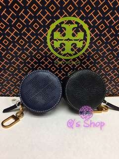 Tory burch perforated Logo circle pouch key fob