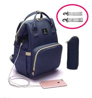 ❤ Anti-theft with USB Port  Feature Diaper Bag / Mommy Nursing Bag  (Navy Blue)