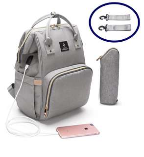 ❤ Anti-theft with USB Port Feature Diaper Bag / Mommy Nursing Bag  (Grey)