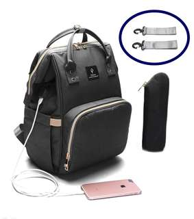 ❤ Anti-theft with USB Port Feature Diaper Bag / Mommy Nursing Bag  (Black)