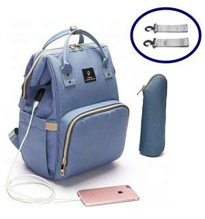 ❤ Anti-theft with USB Port Feature Diaper Bag / Mommy Nursing Bag  (Light Blue)