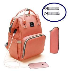 ❤ Anti-theft with USB Port Feature Diaper Bag / Mommy Nursing Bag  ( Peach Orange)