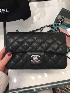 ❌Sold❌ New Chanel Mini 20 rectangular Black Caviar SHW