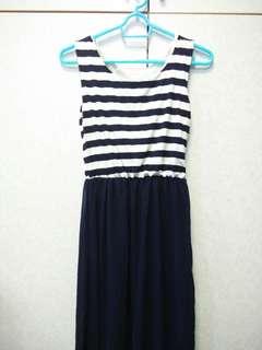 🚚 🎆深藍色 橫條紋 長裙 渡假風 休閒