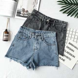 PO | Retro High Waist Denim Shorts